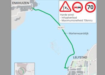 Inhaalverbod en max 70 km/u op dijk Enkhuizen – Lelystad